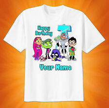 Teen Titans GO Tower CUSTOM tshirt PERSONALIZE Birthday Beast Boy Raven Robin