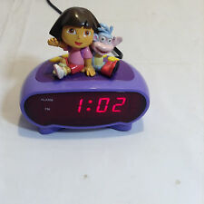 PVC  DORA The EXPLORER & Boots Waving Electric LED Purple ALARM CLOCK