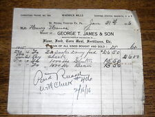1916 Billhead - George T James Warwick Mills Grain Fertilizers - St Peters PA