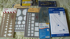 Drafting Set Trammel, Adjustable Triangle, Templates Curves, Circles, Squares +