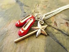 """Miss-Matched Ruby Red Slippers & Fairy Wand Oz Handcrafted 18"""" Necklace"""