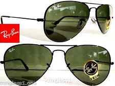 NEW* Ray Ban AVIATOR In BLACK with Green G-15 Lens Sunglass RB 3025 NEW w Case!