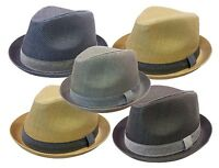 DERVY FEDORA  TRILBY GANGSTER FEDORA BUCKET HAT MEN WOMEN CAP-Solid
