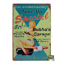 Bubba's Garage Tune Pin Up Hot Girl Special Car Misbehaving Tin Sign Wall Decor