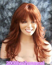 Long ladies wig curly Wavy brown Red Auburn 17 Inches Synthetic Hair Wig/wig