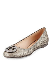 NIB Tory Burch Reva Leather Metallic Leopard Ballet Flats Shoes Anthracite 9 M