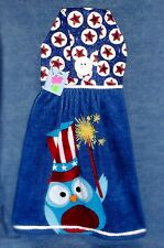 **NEW** Patriotic Stars & Sparklers Owl Hanging Kitchen Hand Towel #1275