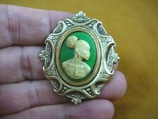 (CA10-13) RARE African American LADY green + ivory CAMEO Pin Pendant JEWELRY