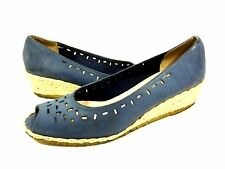 SALVATORE FERRAGAMO WEDGES BLUE SUEDE LEATHER WOMENS SHOES 8 AAA (EXTRA NARROW)