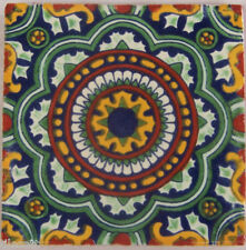 """C228- 9 Decorated Mexican Talavera Clay 4"""" x 4"""" Tiles"""