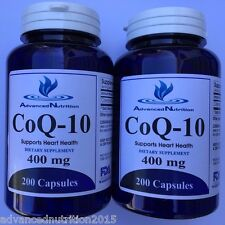 2 X CoQ-10 400mg Coq10 Coenzyme Q10 Heart Health 400 Capsules Advanced Nutrition