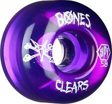 """New Set of Four BONES SPF """"Clears"""" Skateboard Wheels (Clear Purple): 58mm"""