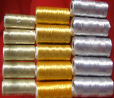 15 Metallic Embroidery - 5 Gold 5 light Gold 5 Silver