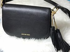NWT MICHAEL KORS Leather Elyse  Large Saddle Crossbody Bag Black Color