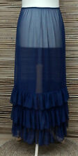 LAGENLOOK AMAZING BOHO MAXI PETTICOAT UNDERSKIRT/DRESS*NAVY BLUE*WAIST UP TO 56""