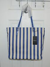 Furla Striped Lightweight Canvas/Leather Trim Shopper Tote Bag Made in Italy