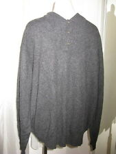 WOODS & GRAY CHARCOAL GRAY 100% CASHMERE POLO SWEATER, MEN'S XL, XLNT