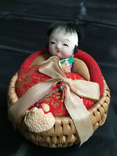 VTG Japanese Ejiko Ningyo Doll Basket with Toys North of Japan