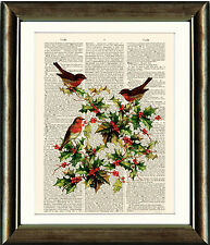 Old Book page Art Print - Robins and Holly Digital Collage dictionary page