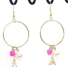 Paris Eiffel Tower charms dangle hoop earrings gold pearl hot pink flower sweet