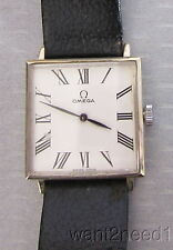 14K YELLOW GOLD OMEGA WRIST WATCH 50s vtg 25mm thin SQUARE DIAL 17J 273766 runs