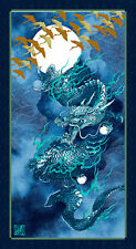 Dragon Luna Azul Índigo 100% Cotton Quilting fabric Panel Kona Bay japonés
