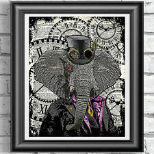Steampunk Elephant art print on original book page Victorian Vintage dictionary