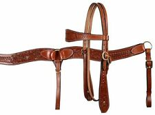 WESTERN SADDLE HORSE LEATHER HEADSTALL BRIDLE W/ REINS & BREAST COLLAR PLATE SET