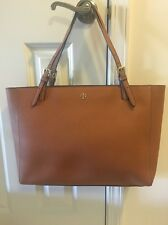 100% Authentic Tory Burch York Buckle Tote Brown Saffiano Leather MSRP$295