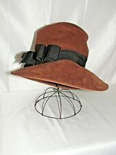 Vtg Faux Suede Leather Hat Women's 1920s 1930s 1940s Small Medium Western Safari