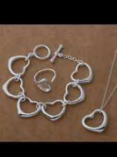Heart bracelet necklace ring- 925 Stamped Silver christmas lady girl friend gift