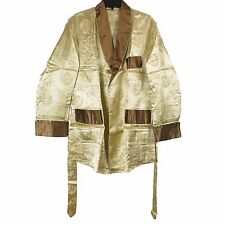 Men's Traditional Chinese Dragon Print Robe Rayon Jacket Top Gold Size M New