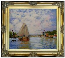 Framed Hand Painted Oil Painting, Claude Monet The Zaan at Zaandam Repro 20x24in