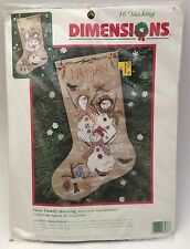 "Dimensions Counted Cross Stitch Kit 16"" Snow Family Christmas Stocking Snowmen"