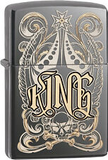 Zippo Choice King Venetian Laser Engrave Black Ice Windproof Lighter 28798 NEW