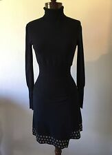 Chic!! ROBERTO CAVALLI Black Wool Dress Suede & Silver Grommet Trim Sz 40/ 4