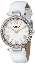 Pulsar Women's Quartz Swarovski Stainless Steel White Leather Watch PM2127