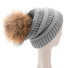 Womens Mens Acrylic Winter Cap Baggy Slouchy Fur Pompom Beanie Toque Hat A404