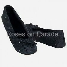 ISOTONER LG BLACK SATIN QUILTED WEDDING FORMAL BALLET SLIPPERS + RHINESTONES NIB