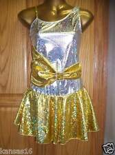 SKATING DRESS SILVER & GOLD METALLIC FOIL ICE FIGURE SKATE CHRISTMAS ADULT L