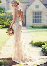 New White/Ivory Lace Wedding Dress Bridal Gown Size:4 6 8 10 12 14 16 18+++