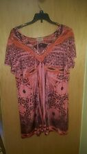 ONE WORLD LIVE AND LET LIVE TUNIC TOP BLOUSE PINK ABSTRACT STUDDED 1X WOMENS CUT