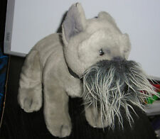 "RUSS BERRIE GRAY SCHNAUZER 12"" PLUSH BEAN BAG TOY"