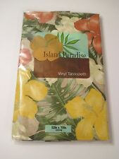 NIP ELRENE ISLAND PARADISE Brown Green Floral Topical Tablecloth~Oblong 52 X 70