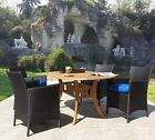 Hudson Outdoor Patio Resin Wicker & Teak 5PC Furniture Set