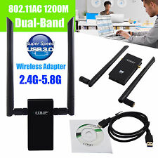1200Mbps Dual Band 2.4/5Ghz Wireless USB WiFi Network Adapter 802.11AC w/Antenna