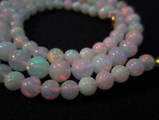"""59 Ct 17"""" Awesome Fire Play Natural Welo Ethiopian Opal Beads Necklace CJ32"""