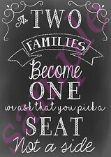 Wedding Pick a Seat Not a Side Two Families Sign Chalk Board Black Retro U PRINT