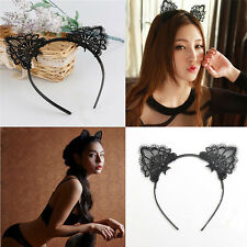 Black Lace Cat Ears Headband Party Costume Props Head hair band Hair Accessory
