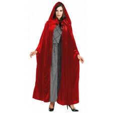 ADULT VELVET HOODED CLOAK KING QUEEN RENAISSANCE MEDIEVAL COSTUME CAPE ROBE 52""